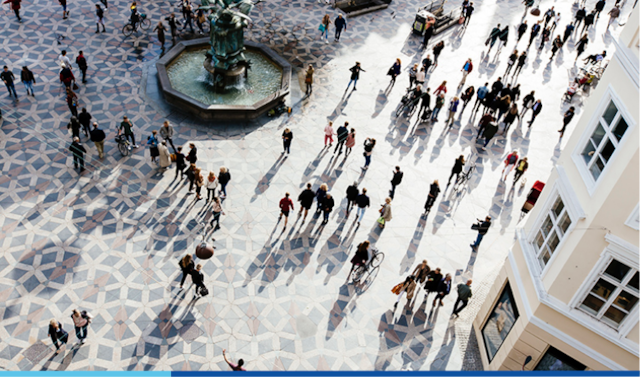 People standing in a square