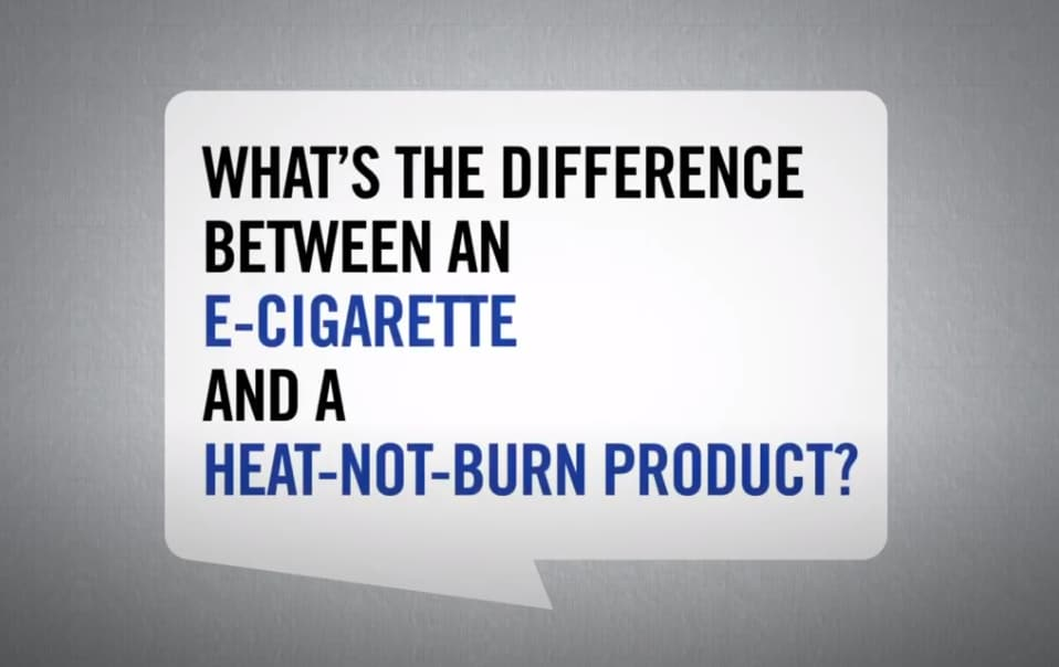 Difference between e-cigarette and heated tobacco product video still