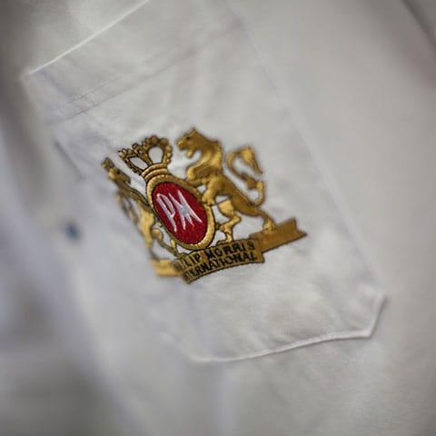 PMI logo on a coat pocket