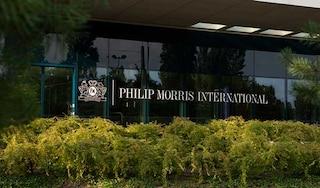 Philip Morris International sign on a building