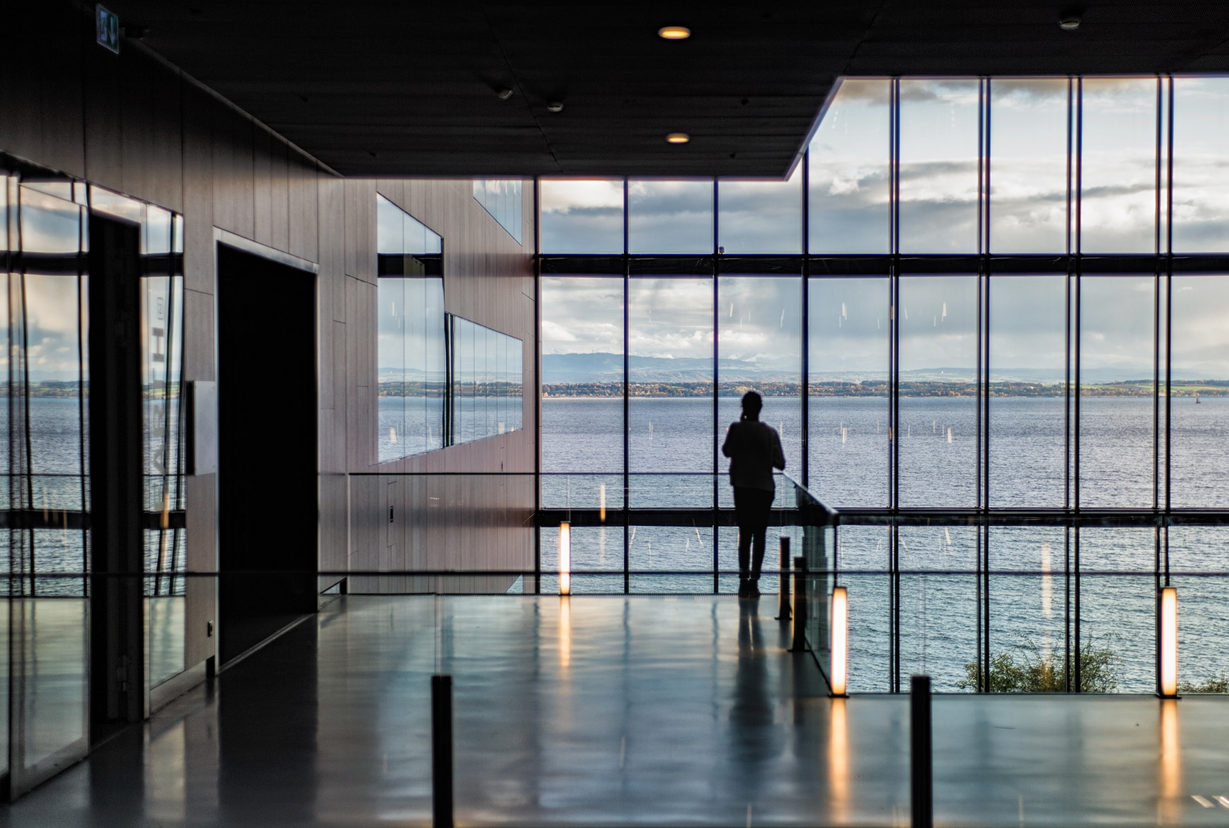 Person standing in Neuchatel building