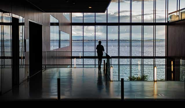 Silhouette of woman in a building overlooking a lake