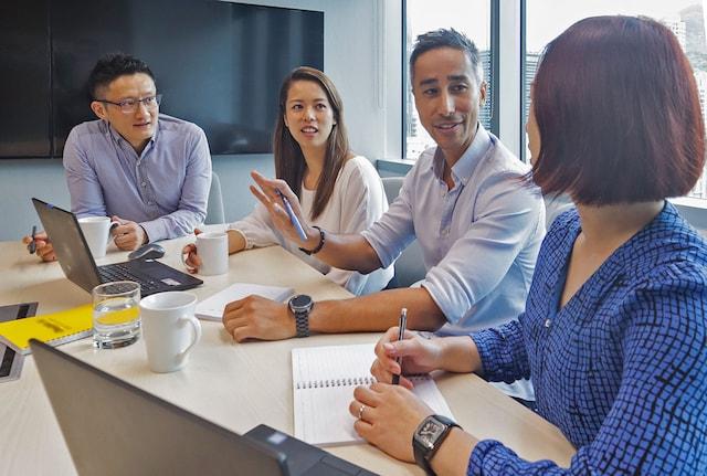 People talking in an office