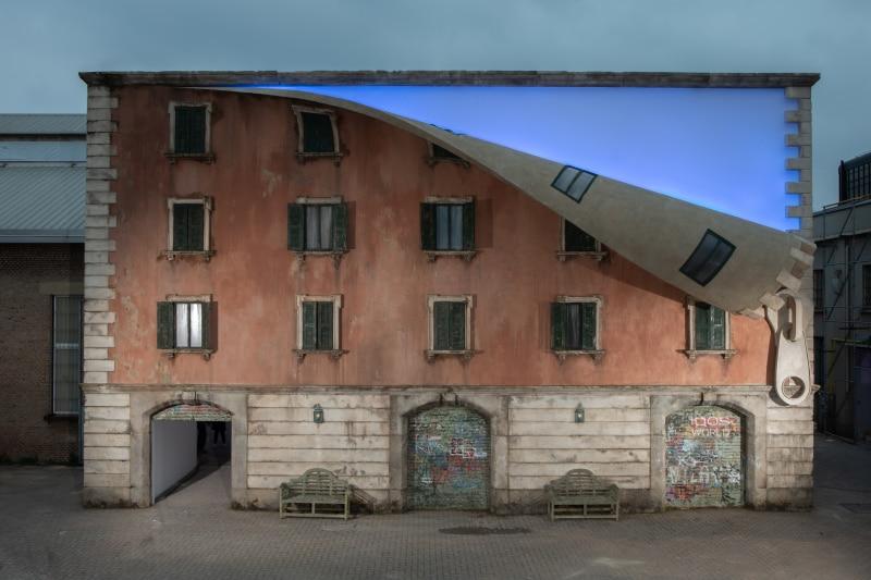 alex chinneck unzips building Milan Design Week