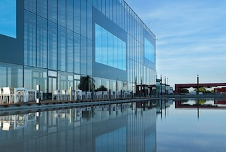 PMI's R&D building in Neuchâtel by the water