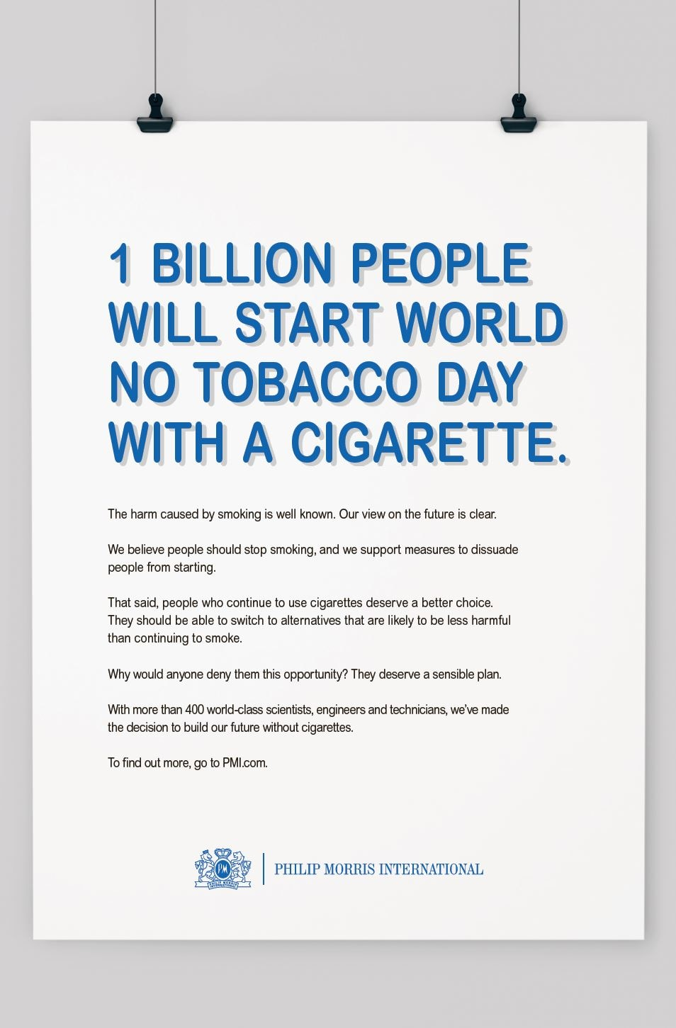 Philip Morris International calls for 'World No Smoking Day'