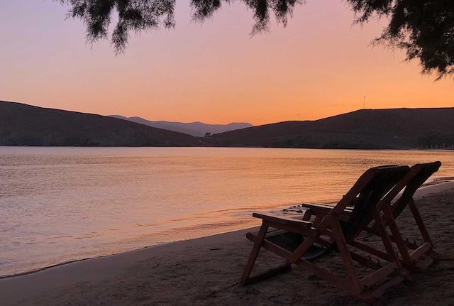 astypalea beach at sunset