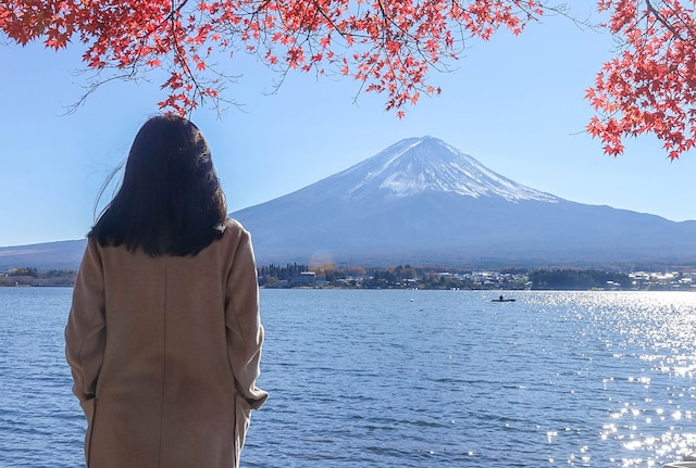 Woman looking at mountain in Japan