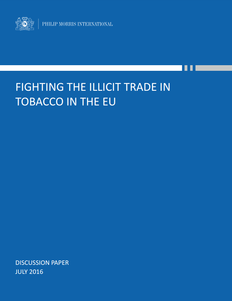 Cover of the position paper 'Fighting the Illicit Trade in Tobacco in the EU'