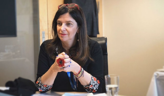 professor vanina farber being interviewed