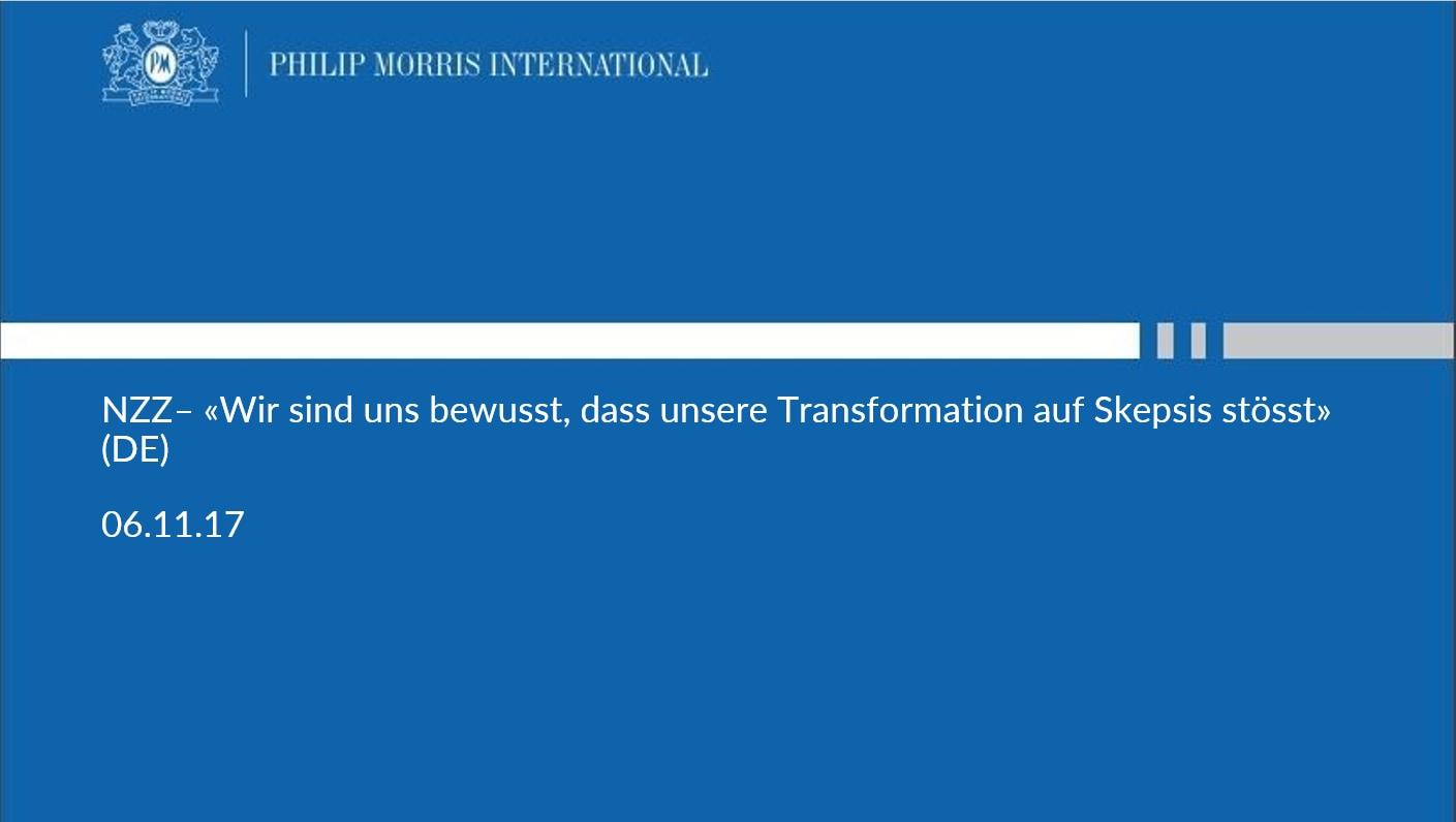 NZZ – «Wir sind uns bewusst, dass unsere Transformation auf Skepsis stösst» (DE)