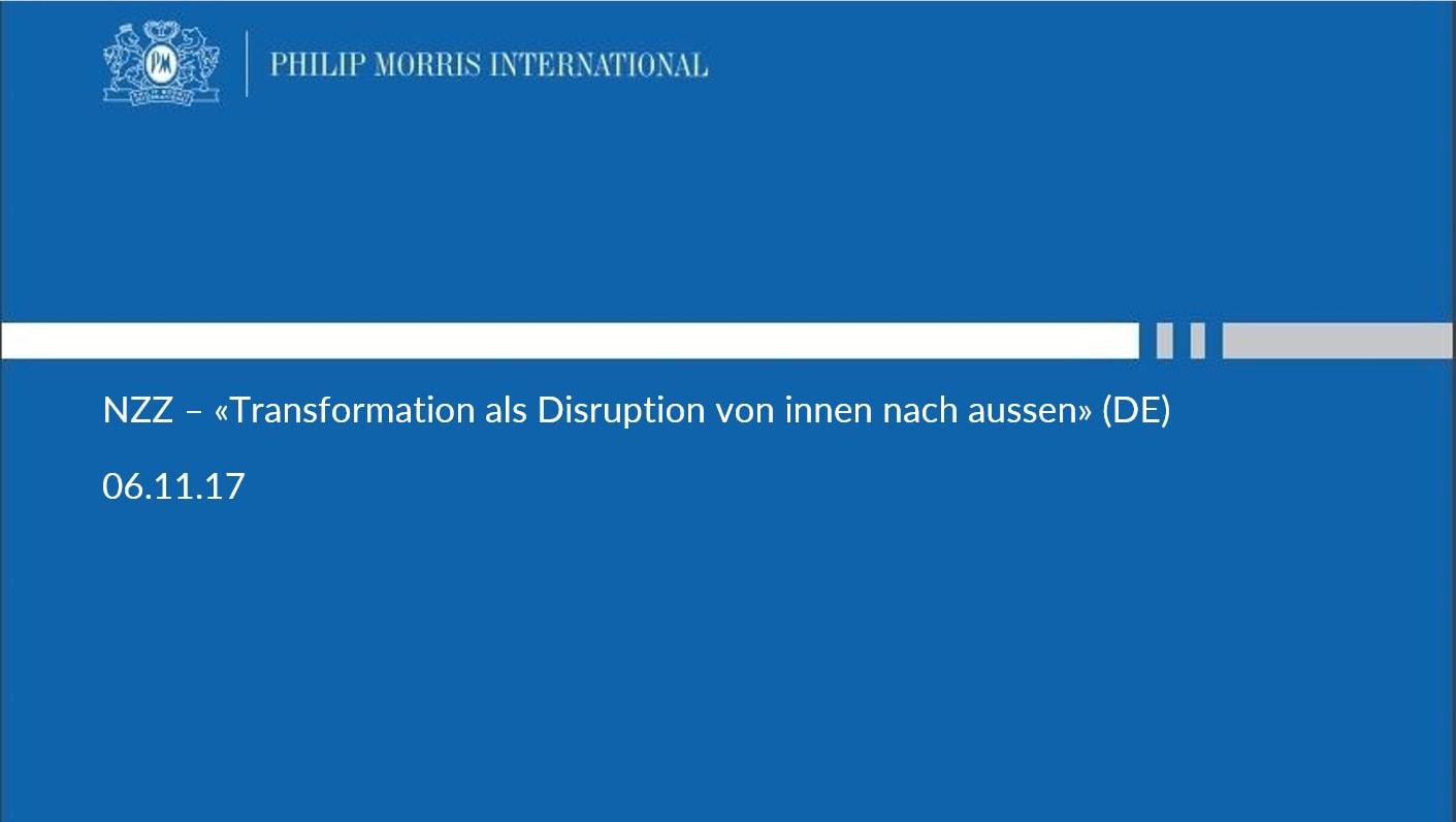 NZZ – «Transformation als Disruption von innen nach aussen» (DE)
