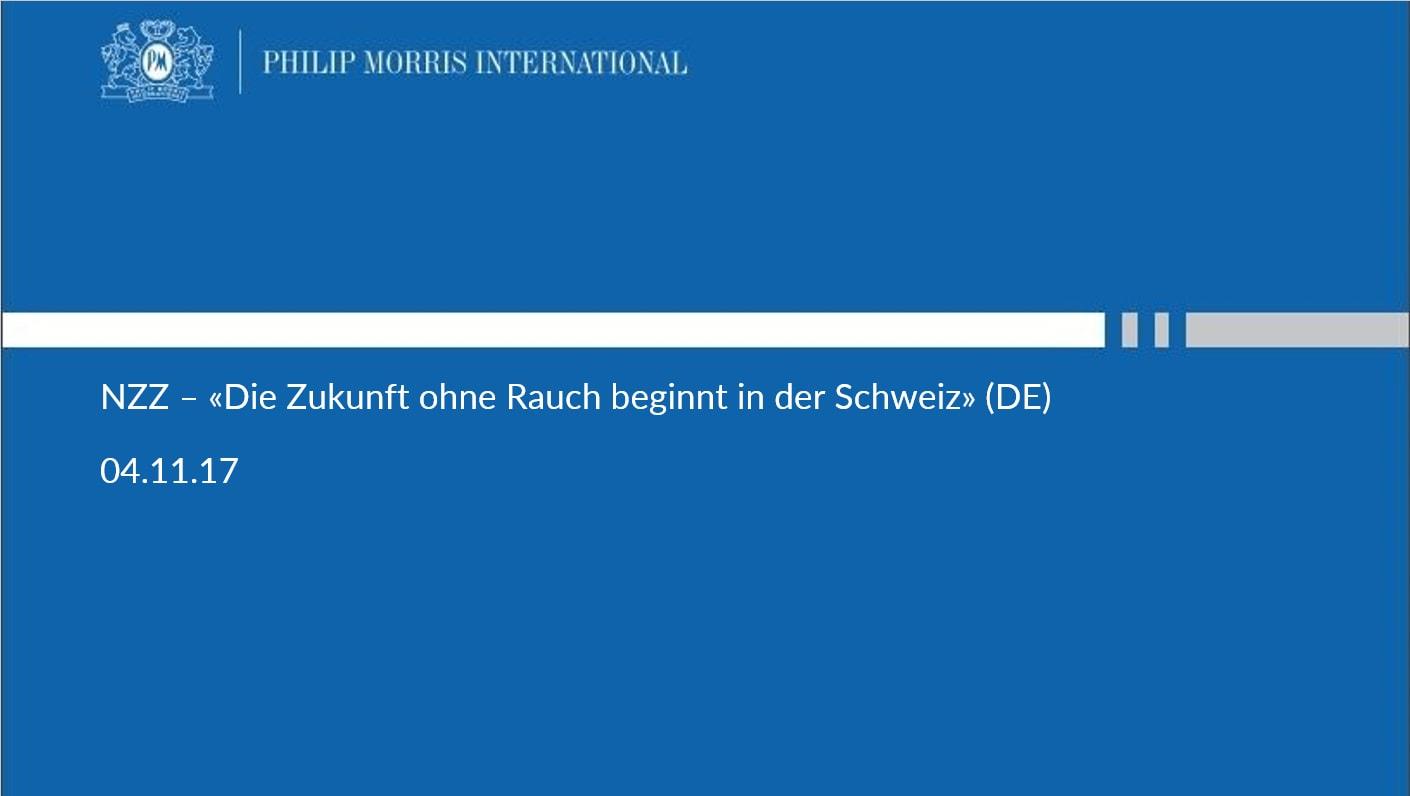 NZZ – «Die Zukunft ohne Rauch beginnt in der Schweiz» (DE)