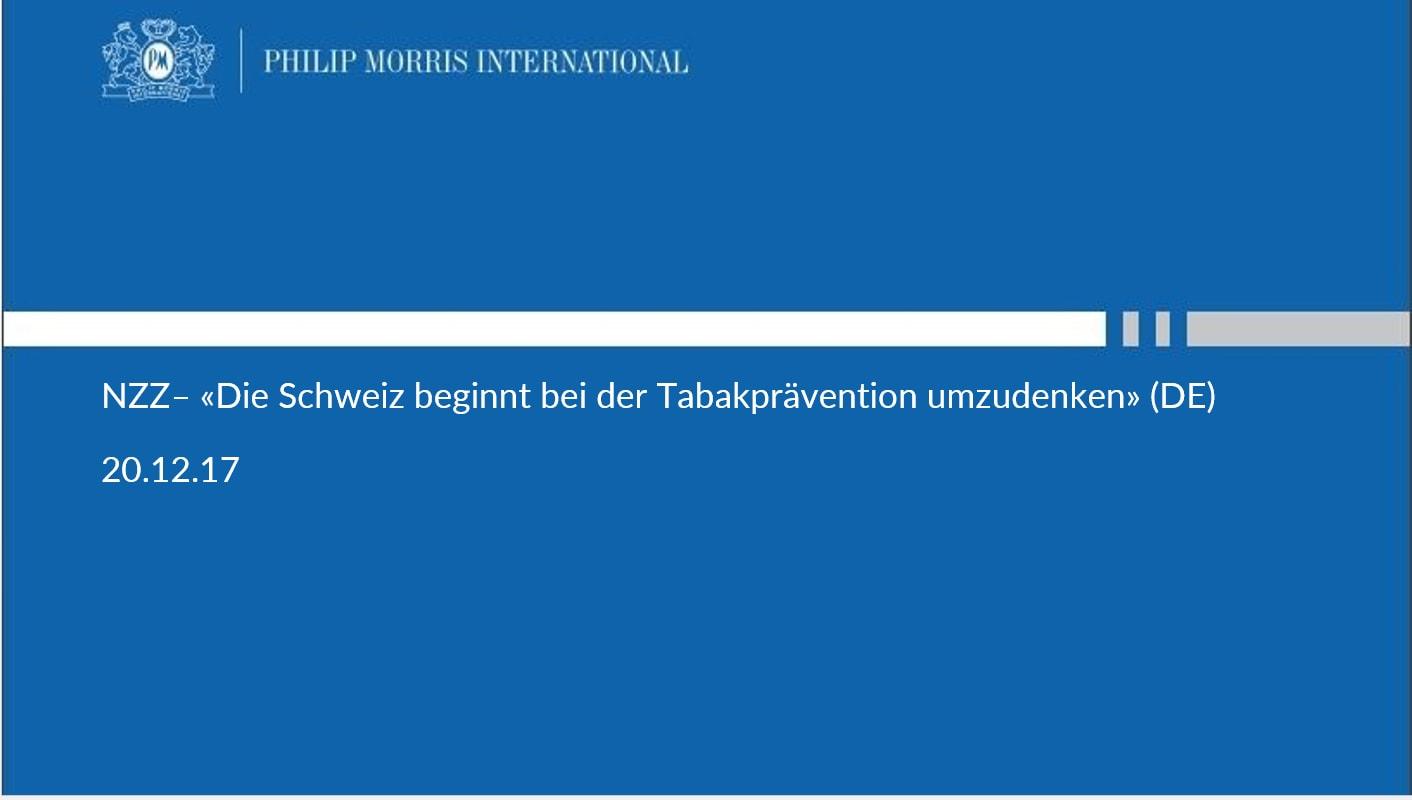 NZZ– «Die Schweiz beginnt bei der Tabakprävention umzudenken» (DE)