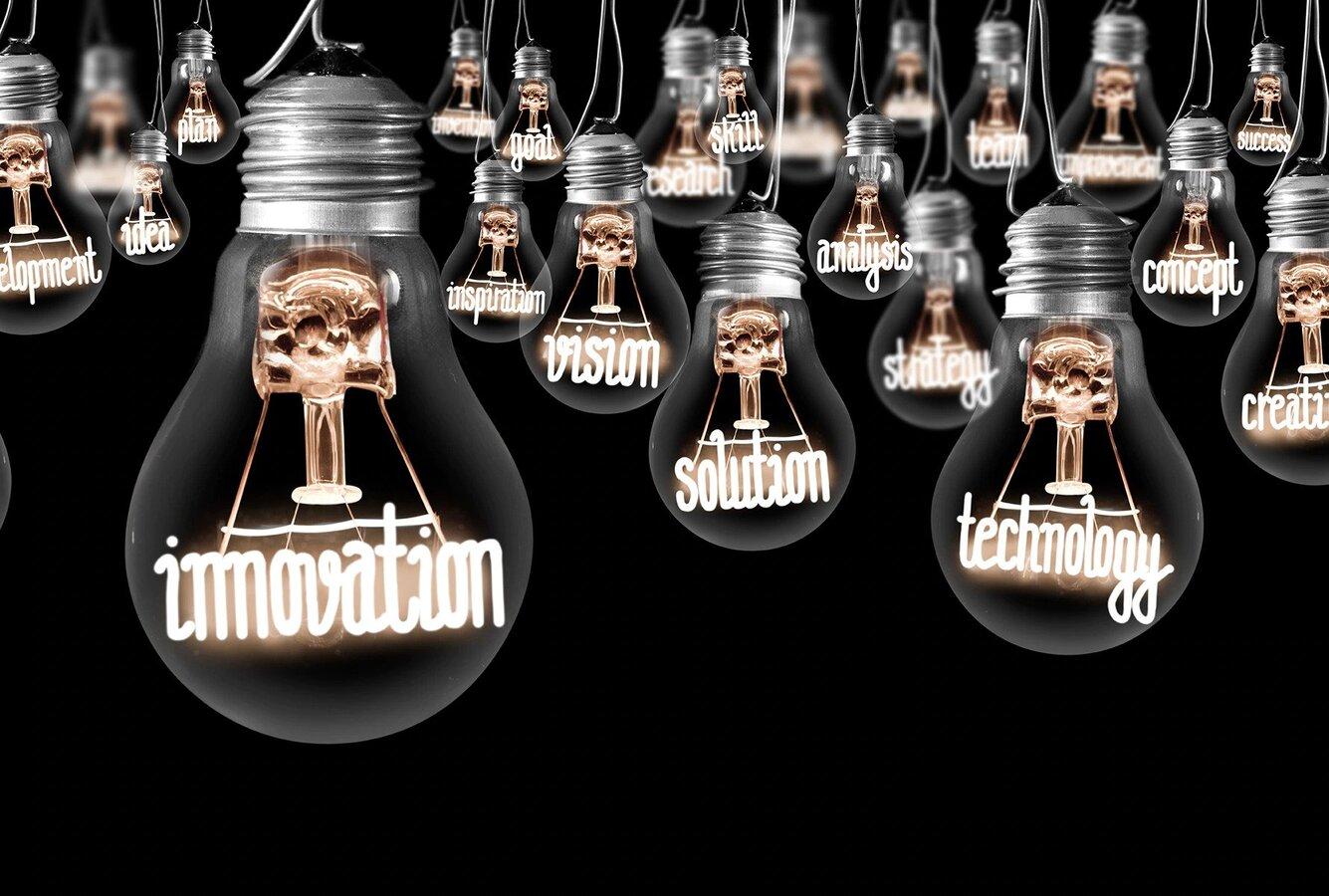 Multiple lightbulbs with innovation written inside